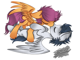 Rumble and Scootaloo by Rigiroony