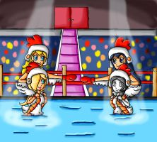 literal boxe chicken fight by ninpeachlover