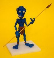 Blue Alien clay puppet by shaungent