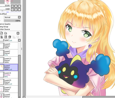 Lillie and Cosmog wip by Fhilippe124