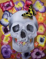 Skull and Butterfly on Flowers by elinorqp