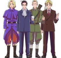 Hetalia France, Austria, Germany, and England by ShockPadAxis