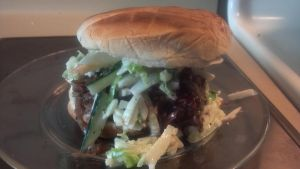 Blueberry Barbeque Pulled Chicken Sandwich by FutureChefHaku