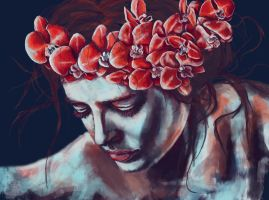 Red orchid by NiemErze
