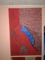 blue skin, the red wall by Hardp01nt
