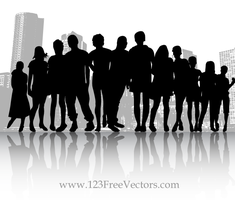 Free Vector Crowd People in the City by 123freevectors