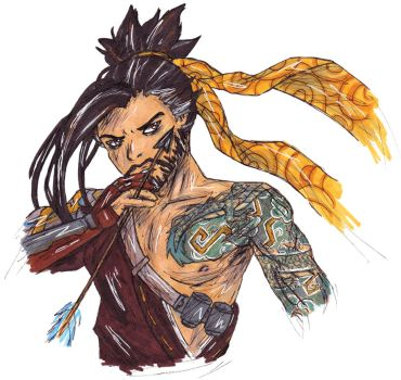 Hanzo drawing by LizChwan