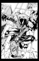Spidey vs venom commission ink by joshmedorsart