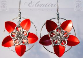 Red Scalemail Flower Earrings by Aeltari