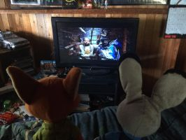 Nick and Judy watching MP and the Holy grail by EJLightning007arts
