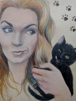 Girl and black kitten by Sodochka