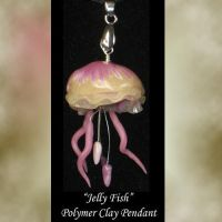 Jelly Fish Polymer clay Pendant by KabiDesigns