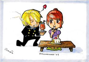 OP-Chibi Nami and Sanji by Goldman-Karee