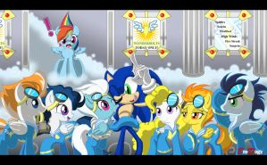 Comm: Sonic, Wonderbolts, Dash - Hero Worship by BroDogz
