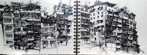 Kowloon walled city sketch by oldmarksir