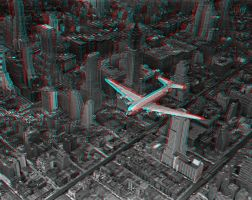 DC-4 over Manhattan 3-D conversion by MVRamsey