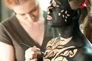 graphic bodypainting - backstage by Sizhiven