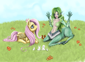 Fluttershy and Mylune by Mugi-Hamster