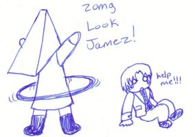 Pyramid head and his hoolahoop by rabidminimoose