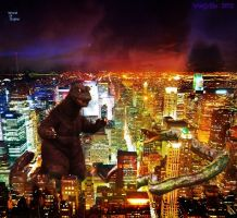 Godzilla vs. Manda City and Lights by WoGzilla