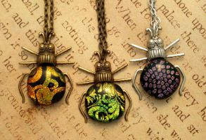 Fancy Firefly Butts Fused Glass Necklaces by FusedElegance
