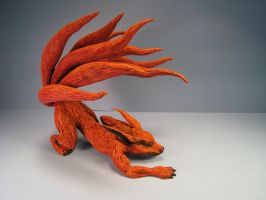Kyuubi commission 9 nine tails demon fox sculpture by RavendarkCreations