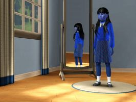 Sims 3 - I'm wearing a new blue school uniform by Magic-Kristina-KW