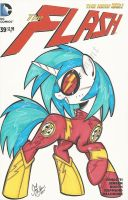Vinyl Scratch as the Flash commission by PonyGoddess