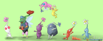 Pikmin and Rainbow Pikmin - For Nintendolover105 by extrasupervery