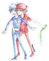[FANART] DICK FIGURES BLUE AND RED by Neuronii
