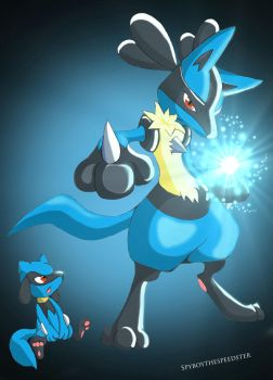 Riolu and Lucario colored by Spyboythespeedster