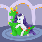 Rarity on Inflatable Dragon by PonBalloon