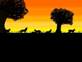Wolves in the Sunset by Lestatian
