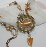 Steampunk Bonny Swan Necklace by mermaidencreations