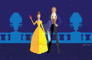 Miss Belle and Prince Adam by AmadeuxWay