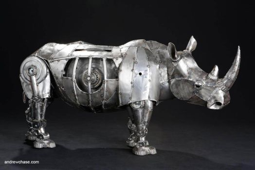 Mechanical recycled metal articulated rhino -  rig by Andrew-Chase