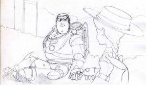 Buzz and Jessie Lineart by vegetarian-artist