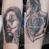 Emilia Clarke Chicano style tattoo with Rose by DonGedzo
