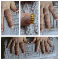French Manicure with Gold Rhinestones by Bexiieeee