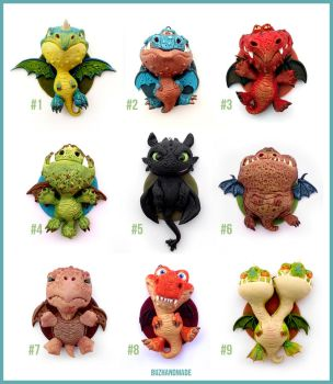 Dragon Charms Collection COMPLETE - Polymer CLAY by buzhandmade
