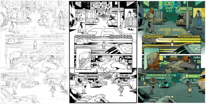Judge Dredd #27 page 19 process by nelsondaniel