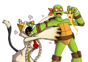 Taokaka vs Michelangelo: Fight for the Last Pizza by SpideyHog