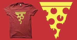 A slice of minimalism with pepperoni and cheese by biotwist