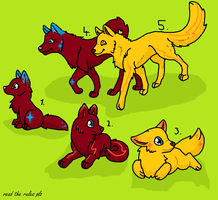 CLOSED family adoptables by StarBeamNeonWolf