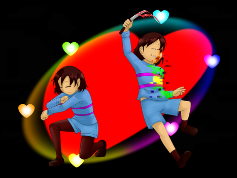 FRISK AND 7R/R@ by Uzumakitenma