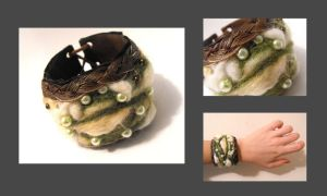 Leather forest colors cuff by julishland