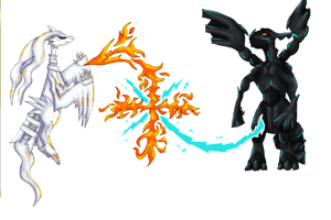 Reshiram VS Zekrom by Eon-Flamewing