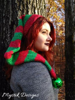 Red and Green Jingle Bell Elf Hat by Branxnia