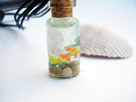 Yellow Fish in a Bottle Necklace by sagicornDreams