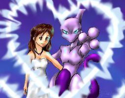 Sandra and Mewtwo by D34tHn0Te